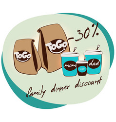 flat family dinner discount concept vector image