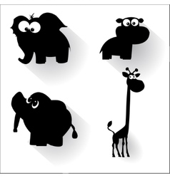 Funny cartoon animals silhouettes vector image