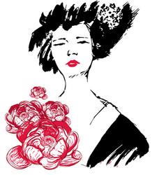 Geisha with flowers kimono vector