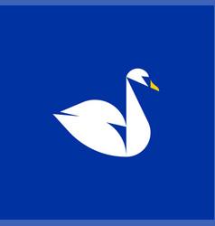 geometric swan flat style logo template vector image