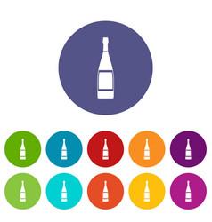 Glass bottle icons set flat vector
