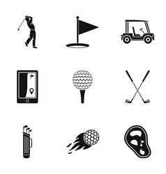 golf market icons set simple style vector image