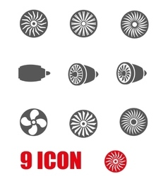 Grey turbines icon set vector