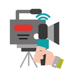 Hand microphone camera recorder broadcast breaking vector