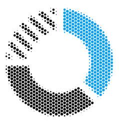 hexagon halftone pie chart icon vector image