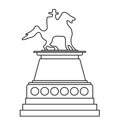 horse statue icon outline style vector image