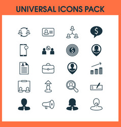 hr icons set with man resume vacancy business vector image