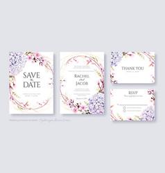 Hydrangea flower wedding invitation card template vector