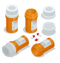 Isometric pills and medicine bottles medicine vector