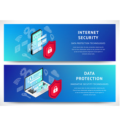 isometry data security phone banner horizontal set vector image