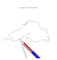 Lake superior map pencil sketch lake superior vector
