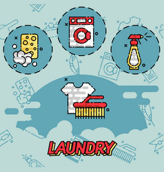 Laundry flat concept icons vector