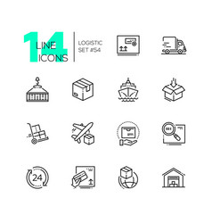 Logistics - modern thin line design icons set vector