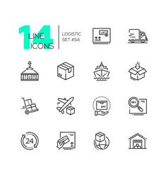 logistics - modern thin line design icons set vector image