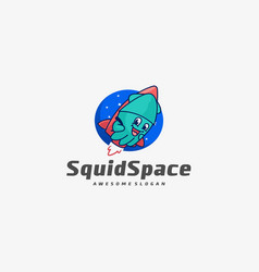 logo squid space simple mascot style vector image