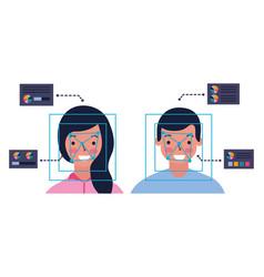 Man and woman biometric process technology vector
