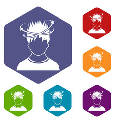 Man with dizziness icons set vector
