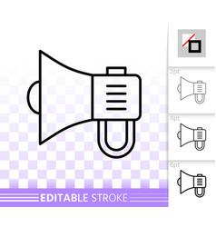 Megaphone simple black line speaker icon vector