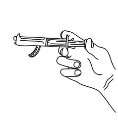 Metaphor hand using syringe with gun vector