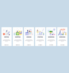 mobile app onboarding screens writing shopping vector image
