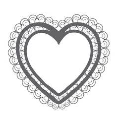 Monochrome silhouette double heart with decorative vector