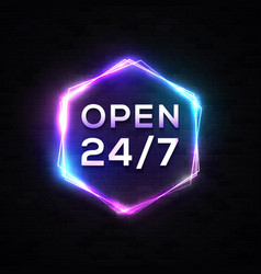 neon light open sign 24 7 on black brick wall vector image