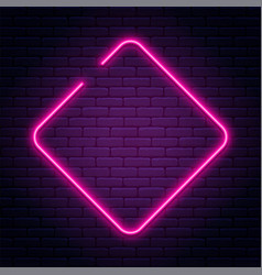 neon sign in rhombus shape bright neon light vector image