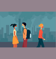 people mixed races men and women walk in masks vector image