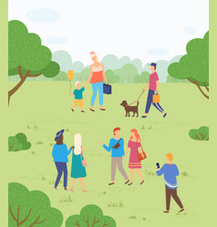 people walking in park outdoor activity on nature vector image