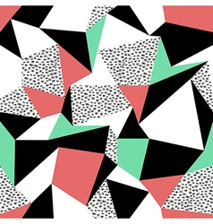 Pink and green triangles pattern design Seamless vector image