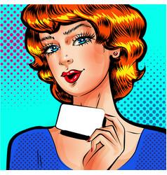 Pop art beautiful woman with blank card vector