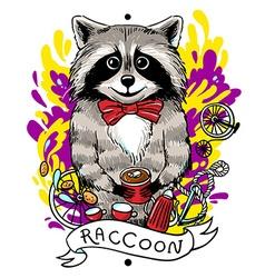 raccoon drinks tea vector image