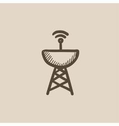 Radar satellite dish sketch icon vector