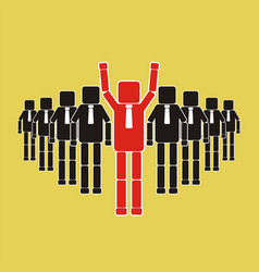 Recruitment concept a worker with a square head vector