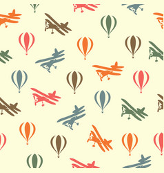 Retro seamless travel pattern of balloons and vector