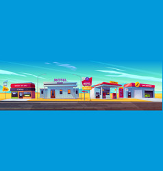 roadside motel oil station cafe and car service vector image