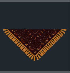 Russian shawl decorated with gold and red pattern vector