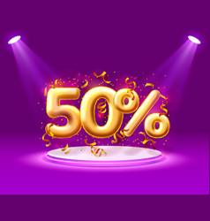 sale 50 off ballon number on purple background vector image