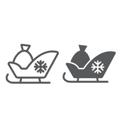 santa sleigh line and glyph icon sledge winter vector image