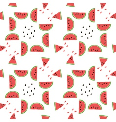 seamless pattern of color hand drawn watermelons vector image