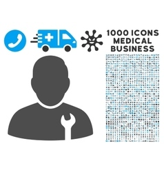 Serviceman Icon with 1000 Medical Business vector