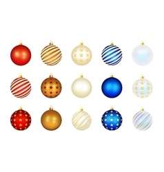 set color xmas balls vector image