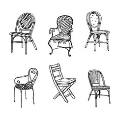 set of chairs sketch vector image