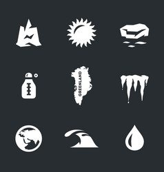 Set of global warming icons vector