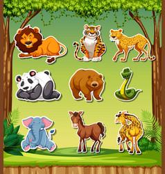 set of sticker background vector image