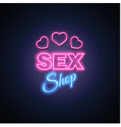 Sex shop neon sign heart icon symbol vector