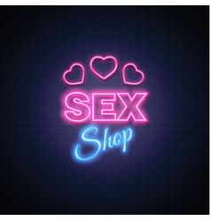 sex shop neon sign heart icon symbol vector image