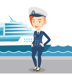 Smiling ship captain in uniform at the port vector