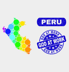 Spectral mosaic peru map and grunge god at work vector