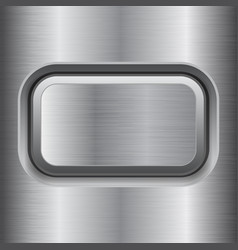 Square button metal brushed texture vector